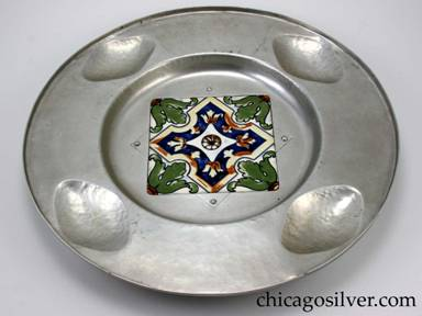 "Cellini tray, round, aluminum, with 5-3/4"" square ceramic tile inset at center."