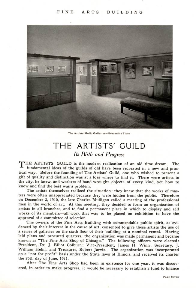 1917 history -- Artists' Guild in Chicago p. 1
