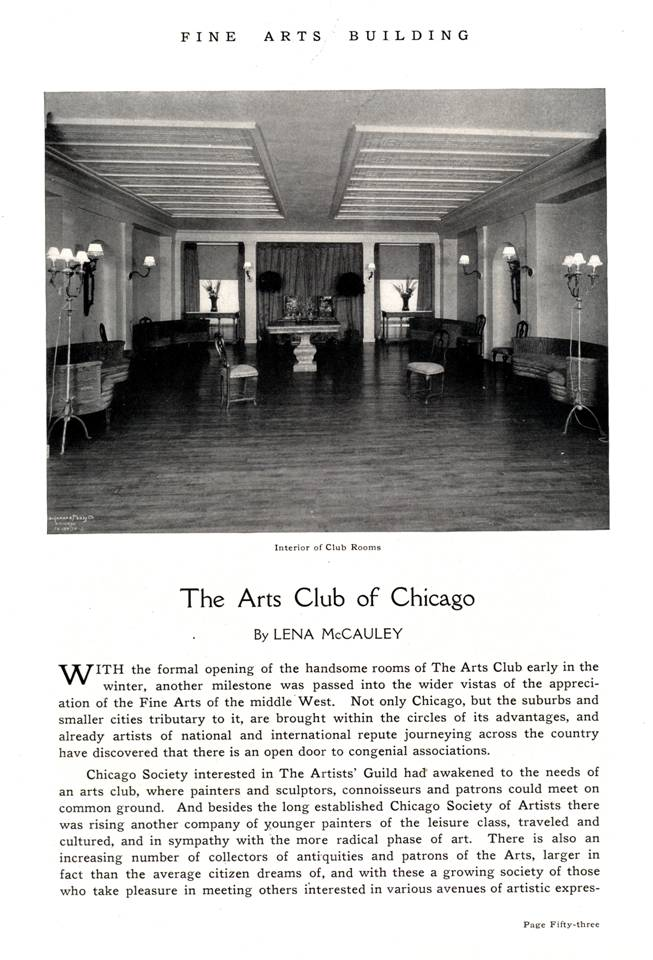 1917 history -- Arts Club of Chicago p. 1
