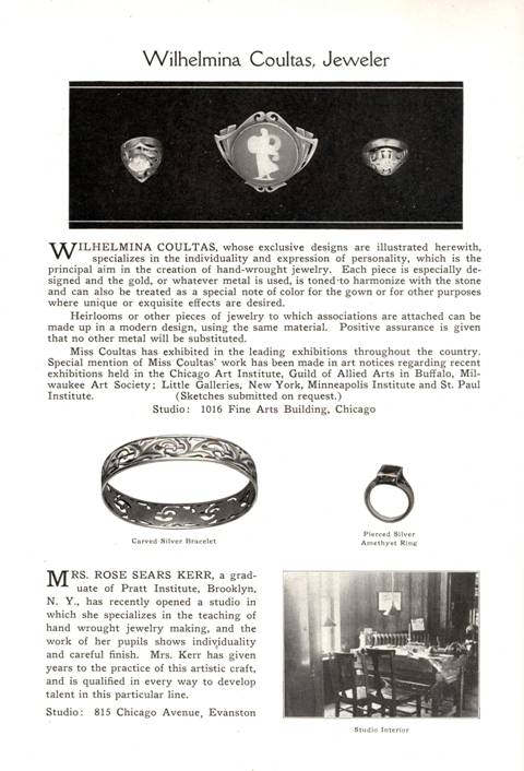 1917 Wilhelmina Coultas and Rose Sears Kerr ad