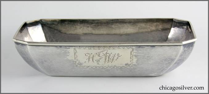 "Kalo bowl, rectangular, octagonal, tapering to flat bottom, with alternating long and short sides, engraved ""HJW"" in box on side, applied wire on rim"