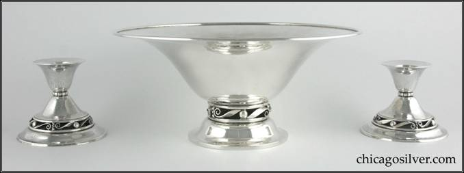Kalo bowl, flaring, on raised foot with open scroll and bead work base and heavy, applied wire on rim. Part of console set (shown here) with two matching low candlesticks.  Nicely hammered.  Rare piece from Kalo's Norse line.