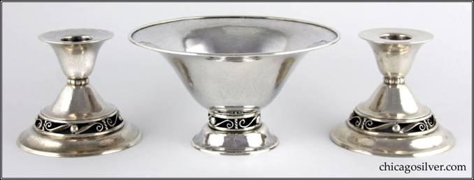Kalo bowl, flaring, on raised foot with open scroll and bead work base and heavy, applied wire on rim.  Small version.  Part of console set (shown here) with two matching low candlesticks.