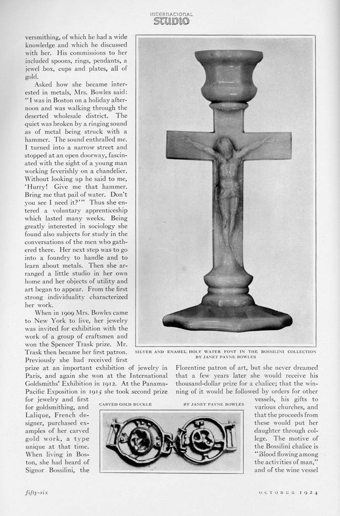 Janet Payne Bowles article in the October, 1924 International Studio.