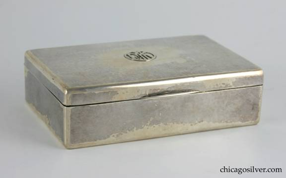 "Kalo box, cigarette, rectangular with hinged cover and slightly rounded corners.  Applied ""McK"" mono in circular cartouche on cover."