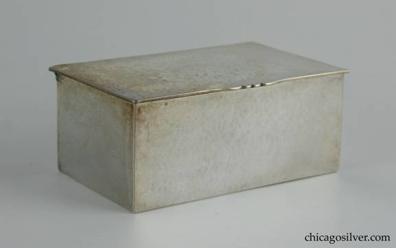 Kalo box, rectangular, with hinged over.  Hammered surface with slightly domed lid.