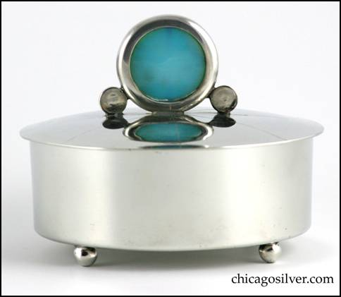 Cauman polished pewter box with handmade glass finial on removable lid