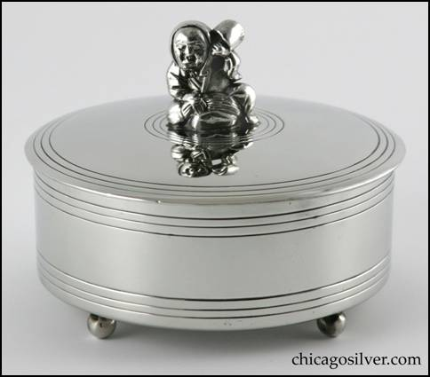 Rebecca Cauman Box, round, pewter, straight-sided, with removable tightly fitted slightly domed lid.