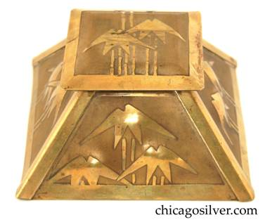 Carence Crafters desk set -- brass square inkwell with tapering sides and hinged overlapping top