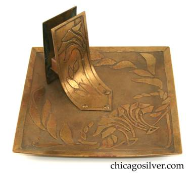 Carence Crafters tray, brass, square, with raised edge and acid-etched floral design, riveted matchbox holder
