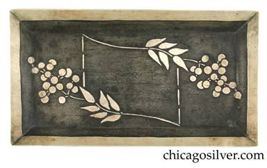 Carence Crafters tray, rectangular, with raised edge and acid-etched leaf and berry design, dark background patina
