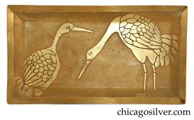 Carence Crafters tray, brass, rectangular, with raised edges and acid-etched design depicting two Sandhill cranes (Grus canadensis) that migrate every spring to the Chicago and Great Lakes area for nesting.