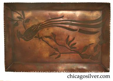 Carence Crafters tray, unusually large, with long-tailed bird of paradise resting on tall segmented branch.  Piece is very unusual for its size, its heavily hammered raised edge, and its reversed acid-etched design -- the bird and branch figure is etched and oxidized rather than the background.