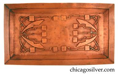 Carence Crafters tray, copper, rectangular, with raised edge and acid-etched deco floral design.