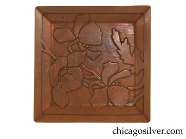 Carence Crafters tray, copper, square, with raised edges and acid-etched design depicting blossoms, stems, and leaves.