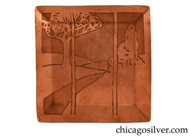 Carence Crafters tray, copper, square, with raised edges and acid-etched design depicting road curving away toward distant mountains with a large tree on the left and a small grove of trees on the right, as if seen through a window with vertical bars