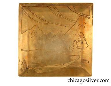 Carence Crafters tray, brass, square, with raised edge and acid-etched mountain and stream design