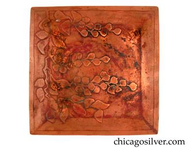 Carence Crafters tray, copper, square, with raised edges and acid-etched design depicting stems with leaves, and cluster of flowers or berries.  Some staining on surface.