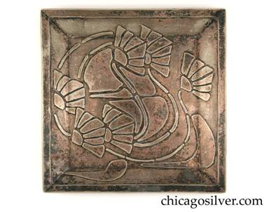 "Carence Crafters tray, square, nickel silver (or ""German"" silver), with upturned edge, acid etched design of blossoms (poppies?) and curving articulated stems."