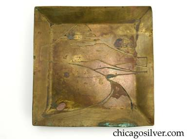 Carence Crafters tray, brass, square, with raised edges and acid-etched design depicting mountain in background with setting sun  and curving road in foreground.  Some stains on surface.