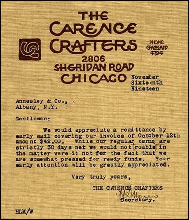 Carence Crafters letter