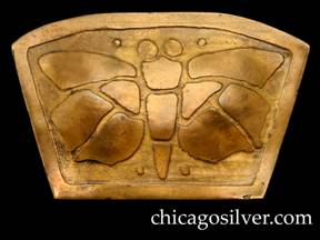 Carence Crafters brooch / pin, brass, trapezoidal with wide curving top and acid-etched design of segmented moth within outer raised frame