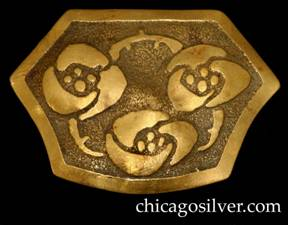 Carence Crafters brooch, brass, large, shield-shaped with straight top and sides and curved bottom, with acid-etched geometric floral design