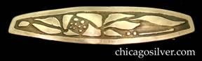Carence Crafters hair clip or barrette, German silver, oval with squared off ends and acid-etched floral design.  Double spring clip on back for holding hair.