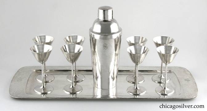 Kalo cocktail set, ten-piece (10), including large rectangular tray with broad raised flange, eight cocktail glasses and large cocktail shaker, all with engraved S monogram