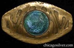 Forest Craft Guild brooch, oval, large, brass, with acid-etched design, blunted ends, and hammered edges, centering a round bezel-set iridescent blue-green glass cabochon stone.