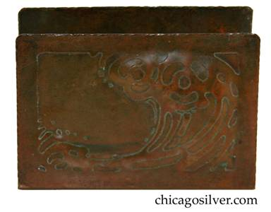 Forest Craft Guild letter holder, copper, rectangular with rounded corners and swirling acid-etched and repousse framed design of ocean wave cresting.  Wonderful rich patina.