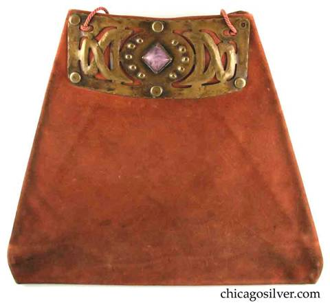 Forest Craft Guild handbag, ooze leather, lined, trapezoidal, with riveted cutout and repousse brass hardware at top centering diamond-shaped square pink bezel-set stone on each side.  Original twisted silk cord handle.