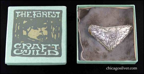 German silver Forest Craft Guild brooch on original ooze leather backing in original presentation box.