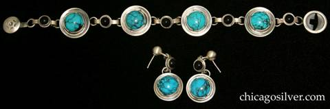 Laurence Foss bracelet and earrings set with bezel-set cabochon turquoise stones