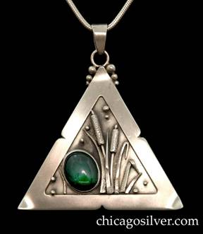 "Laurence Foss pendant on chain, triangular, with loop at top surrounded by three successively smaller beads on each side.  Wide frame with small notches in the middle of each side, around incised oxidized interior with beads, and detailed applied sawtooth leaves and cattails.  Large oval green chrysoprase or green agate cabochon bezel-set stone in lower left-hand corner.  Note:  while mark includes ""14K"" stamp and similar Foss triangular pendants do have gold beads, there doesn't seem to be any gold used here."