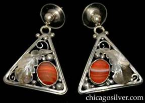 Laurence Foss earrings, pair (2), for pierced ears, triangular frames with rounded corners, applied large chased serrated leaf with silver beads and curving wirework ornament, and striped lace carnelian salmon-colored oval bezel-set stone.  The earrings are mirror-images of each other.