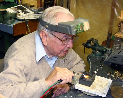 Laurence Foss at his workbench