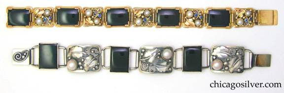 Bracelet by Gilbert Oakes (top, in gold) with bracelet by Laurence Foss (bottom, in silver)