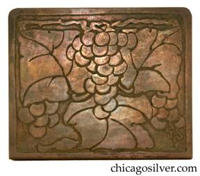 Frost Workshop bookends, brass, large, with deeply etched design of stylized grapes, leaves, and vines.  Rounded corners.  Nice patina.
