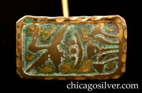 Frost Workshop hatpin, brass, rectangular, with acid-etched design of duck flying over foliage.