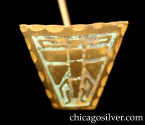 Frost Workshop hatpin, brass, trapezoidal, with acid-etched design of segmented winged insect.