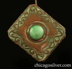 Frost Workshop hatpin, copper, rectangular, with freeform curving acid-etched design around edge centering large round bezel-set green stone.