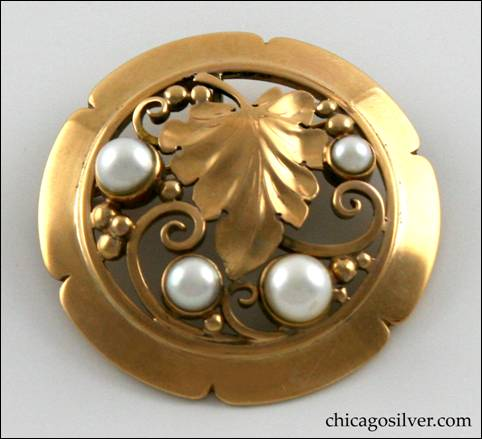 Laurence Foss round gold brooch with pearls