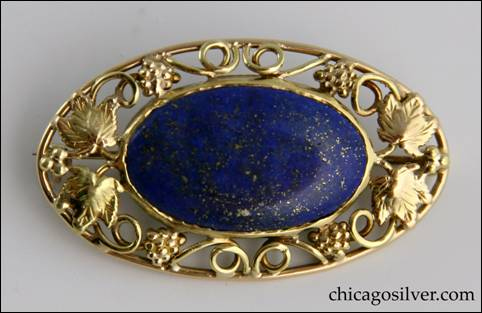 Frank Gardner Hale gold pin with lapis stone