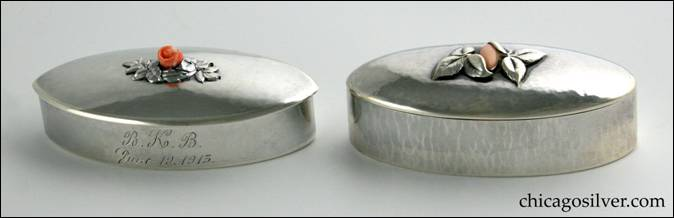 Kalo silver oval covered boxes with coral ornament