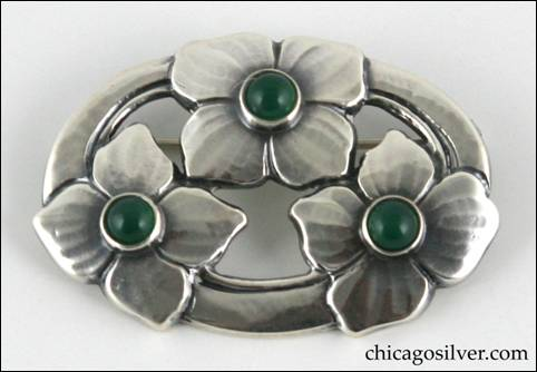 Kalo pin with three blossoms and three green stones