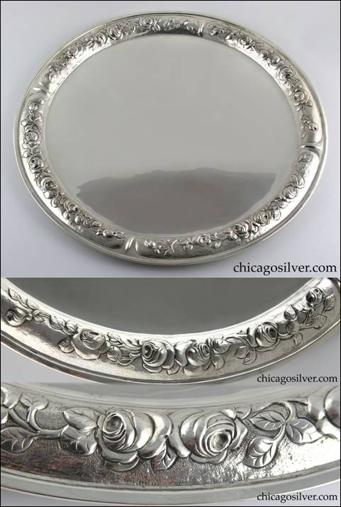 Falick Novick silver tray with detailed repoussé work