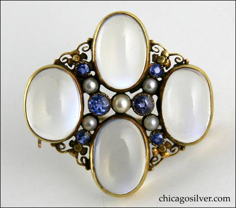 Edward Oakes gold pin with four blue moonstones with six Montana sapphires and five seed pearls
