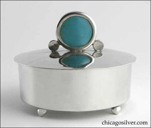 Rebecca Cauman round covered box with blue glass finial