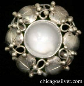 Mary Gage earring, single, screw back, with round framework of leaves, vines, and silver beads centering a round bezel-set clear rock crystal stone